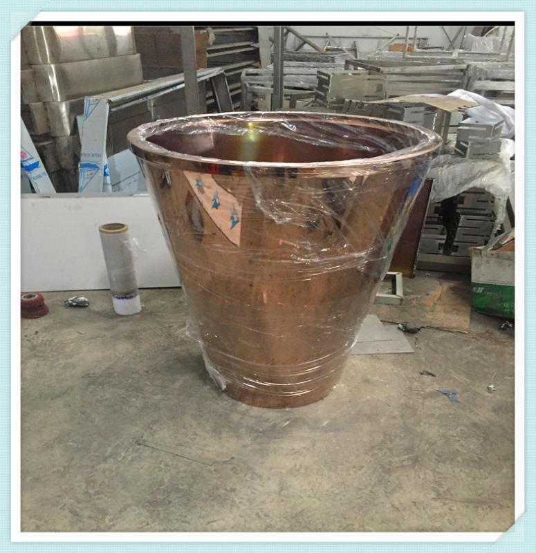 酒店钛金装饰花盆利创不锈钢花盆定制多边形镜面花盆