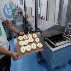新型结构甜甜圈  油炸机器 连续式甜甜圈油炸生产线