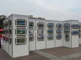 书画作品展览 挂画折叠广告展板 八棱柱