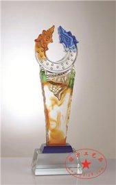 年年有余奖杯  彩雕水晶奖杯  彩色琉璃奖杯   深圳琉璃奖杯定制