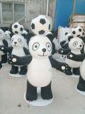 80公分高頂着足球造型的玻璃鋼卡通熊貓雕塑