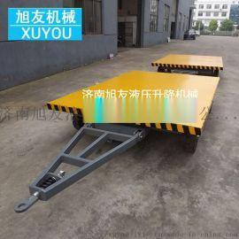 牵引式平板车四轮移动平板拖车厂区转运车搬运车