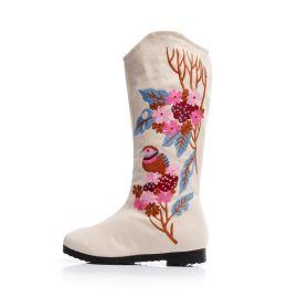 杭州汝美绣花鞋厂厂家批发169-5新款绣花鞋布鞋女鞋内增高女靴