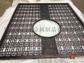 纳米喷涂红古铜铝板雕刻祥云屏风酒店会所玄关隔断