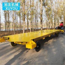 牵引拖挂平板车电动平板拖车码头运输车间专用平板车