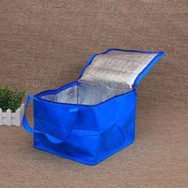 廠家定做logo藍色無紡布冰包袋保溫袋冷藏袋外賣