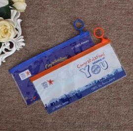厂家定制PVC拉边袋带环拉链文件袋 票据文具笔袋