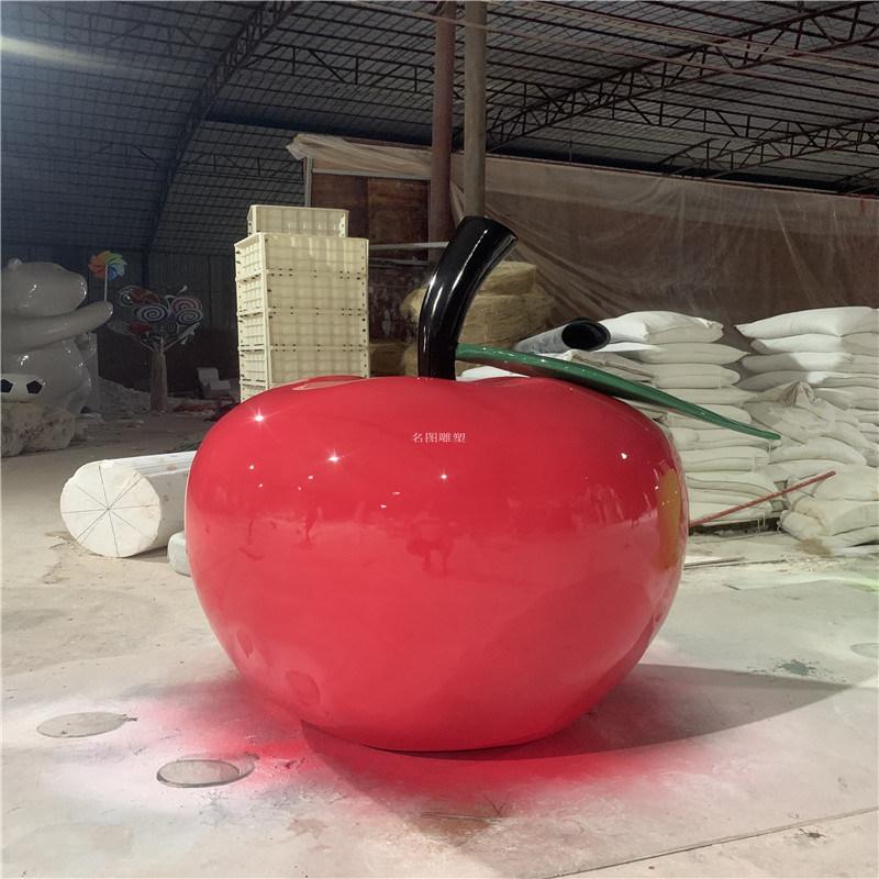农场玻璃钢仿真水果雕塑 广州玻璃钢红苹果雕塑