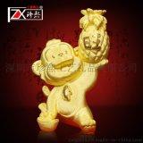 绒沙金猴年摆件 高档黄金工艺品猴年旺财猴子摆件