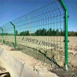 武汉洪湖圈地围山护栏网 双边丝折弯护栏网