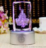 發光水晶內雕禮品擺件定製,菩薩水晶紀念禮品