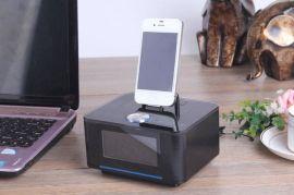 酒店客房床头电子闹钟Iphone/Ipod基座接口FM调频多功能音箱