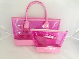 热卖彩色透明PVC 化妆袋套装 手提袋