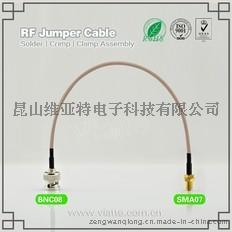 BNC08-SMA07BNC(Plug)  公针 to 反极性SMA母头公针直式铆压接RG316_RG174同轴电缆/50Ω