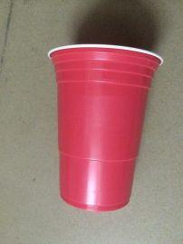 PS双色杯一次性杯 450ML一次性双色杯红包PS胶杯10克 起订10000个