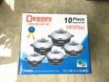 DESSINI 10件套不粘锅套件铝压铸不粘锅套装