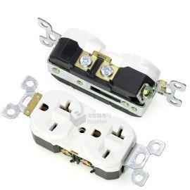 美规双联插座20A两位六孔工业插座 美标机柜插座