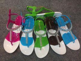 揭阳鞋厂女款水晶变色条纹凉鞋