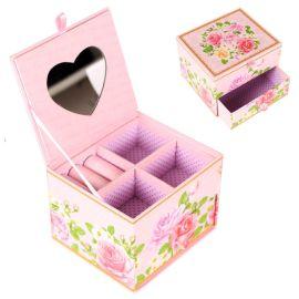 创意家居桌面饰品首饰带镜子收纳盒时尚抽屉化妆品厂家直销
