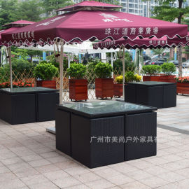 戶外家具(仿藤家具應用於商業廣場戶外桌椅)