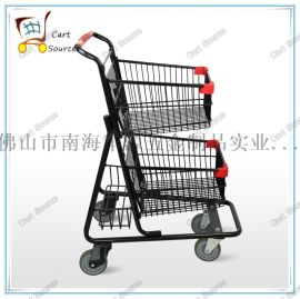美式双层超市手推车(前轮转动,后轮固定)