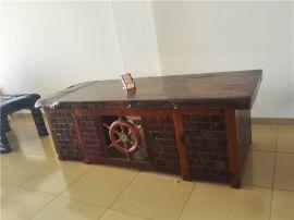 老船木茶几简约实木大板茶桌椅组合老船木酒吧台博古架