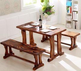厂家供应碳化木餐桌 烤鱼餐厅四人桌椅组合