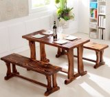 廠家供應碳化木餐桌|烤魚餐廳四人桌椅組合