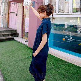 洛米唯娅品牌库存女装尾货批发 广州茵她品牌女装批发折扣尾货藏蓝色多种款式