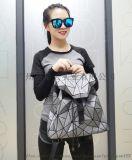 新款現貨幾何菱格PU蠶絲雙肩揹包  戶外旅行收納包休閒包