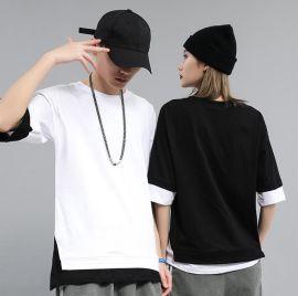 港風t恤男式夏季新款寬鬆五分中袖體恤假兩件套潮牌情侶T恤上衣女