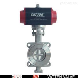 德国VATTEN VTD643X-10PD 耐高温气动法兰硬密封蝶阀  气动三偏心蝶阀  上海生产厂家  中德合资