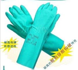 耐酸碱溶剂防化防油工业劳保丁腈橡胶手套