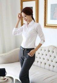 上海红万款女士长袖衬衫工作服装