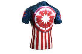 男运动紧身衣  弹力短袖健身衣服  星星T恤系列