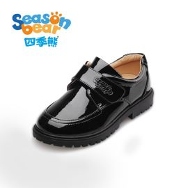 四季熊  黑色皮鞋大童软底单鞋儿童学生演出鞋漆皮英伦小童皮鞋