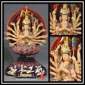 准提佛母菩萨木雕真金彩绘佛像