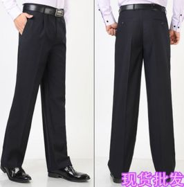供應四季款防皺免燙修身厚款商務經理男裝直筒西裝褲子男褲黑色