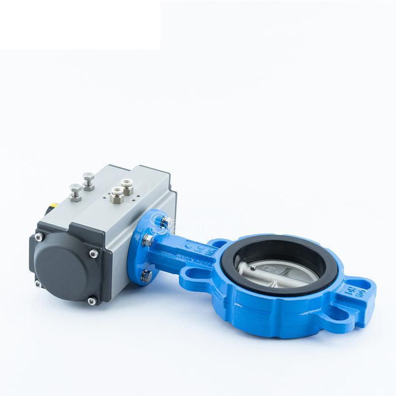 气动双作用对夹蝶阀D671X碳钢不锈钢板蝶阀衬胶对夹式DN80 100