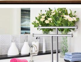 304不锈钢落地双层杆手巾毛巾挂浴巾架浴室折叠卫生间置物架挂件