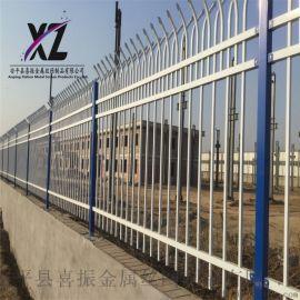 方管围墙护栏,蓝白方管锌钢护栏,金属围墙防护栏