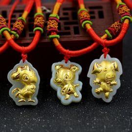 和田玉镶金项链 4D硬金十二生肖吊坠 金店礼品 珠宝礼品金镶玉