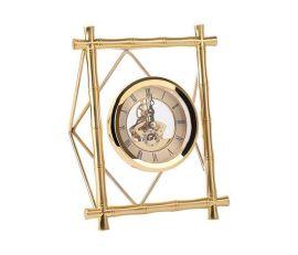 现代简约长方形竹节纹玻璃金属横竖钟表时钟座钟摆台样板间摆件