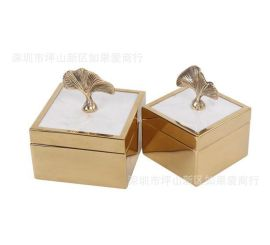 不锈钢金属金色正方形枫叶把手玻璃首饰收纳盒样板间软装摆件欧式
