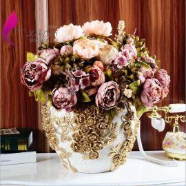 欧式仿真花束盆栽 仿真假花装饰套装 秋色落地牡丹 义乌厂家