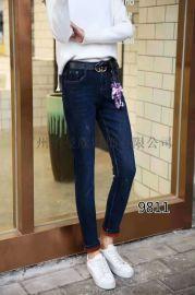 广州品牌女装加绒加厚牛仔裤批+发
