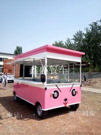 厂家直销流动小吃车房车四轮美食车不锈钢早餐车