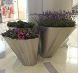 大型購物中心不鏽鋼花盆、不鏽鋼盆景傾斜大花器
