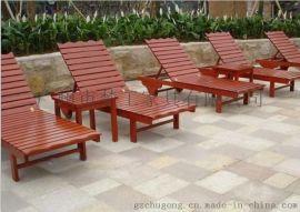 露台实木躺椅 景观沙滩椅定制 户外沙滩椅厂家