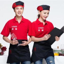 定制夏短袖翻領T恤企業文化廣告衫餐廳服務員短袖工作服刺繡印字